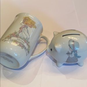 Precious moments cup and piggy bank